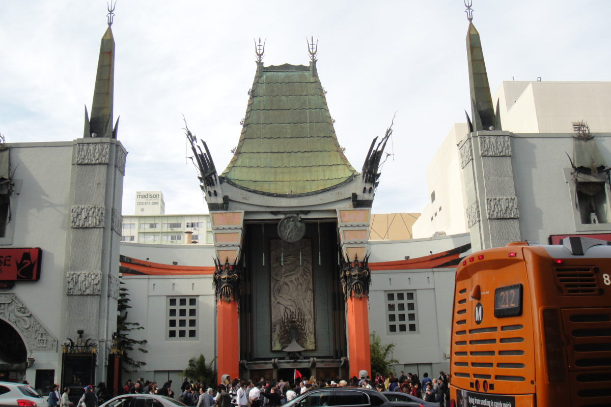 Image of the Chinese theatre in Hollywood.